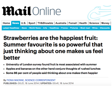 Strawberries feature in the Daily Mail